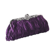 QZUnique Women's Satin Clutch Purse Pleated Crystal Evening Handbag Shoulder Bag