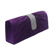 QZUnique Women's Luxury Rhinestone Satin Pleated Evening Bag Clutch Handbag