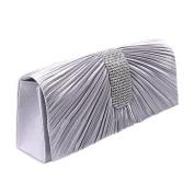 QZUnique Women's Luxury Rhinestone Satin Pleated Evening Bag Clutch Handbag