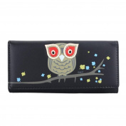 JYS365 Women Girl Long PU Leather Owl Design Button Wallet Money Bag