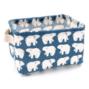 Jacone Kids Storage Bins with Cute Polar Bears Pattern,Waterproof Fabric Storage Baskets with Handles ,Collapsible and Convenient for Nursery and Babies Room