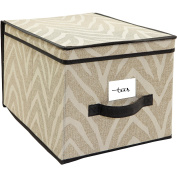 Collapsible, Made of Breathable Polypropylene HouseCandie Natural Zebra Storage Box, Large