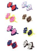 DUOQU 8 Pcs Multicolor Grosgrain Ribbon Boutique Hair Bows Hair Hoops Headbands Fashion Hair Accessories For Kids Teens