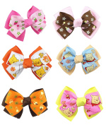 DUOQU 6 Pcs Multicolor Baby Girl Grosgrain Print Ribbon Boutique Big Hair Bows Alligator Clips Fashion Hair Accessories For Teens Baby Girls Babies Toddlers