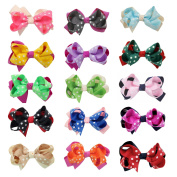DUOQU 15 Pcs Multicolor Baby Girl Grosgrain Print Dot Ribbon Boutique Big Hair Bows Alligator Clips Fashion Hair Accessories For Teens Baby Girls Babies Toddlers