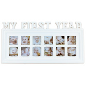 My First Year Baby Picture Frame (White) - Frame Décor to Commemorate Birth to First Birthday - Home Photo Collage Holds 12 Infant Photographs - Baby Shower Gift Idea or Push Present for Mom to Be