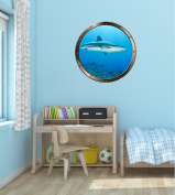 90cm Porthole Ship Window Ocean Sea View SHARKS #2 PEWTER ROUND Wall Sticker Kids Decal Baby Room Home Art Décor Graphic LARGE