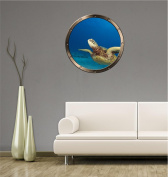 90cm Porthole Ship Window Ocean Sea View GREEN SEA TURTLE #3 PEWTER ROUND Wall Sticker Kids Decal Baby Room Home Art Décor Graphic LARGE