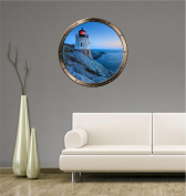 60cm Porthole Ship Window Ocean Sea View LIGHTHOUSE DUSK #1 PEWTER ROUND Wall Graphic Kids Decal Baby Room Sticker Home Art Décor MEDIUM