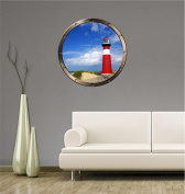 60cm Porthole Ship Window Ocean Sea View LIGHTHOUSE DAY #1 PEWTER ROUND Wall Graphic Kids Decal Baby Room Sticker Home Art Décor MEDIUM
