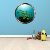 60cm Porthole Ship Window Ocean Sea View SCHOOL TROPICAL FISH #1 PEWTER ROUND Wall Graphic Kids Decal Baby Room Sticker Home Art Décor MEDIUM