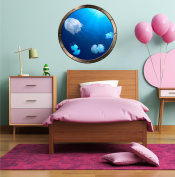 60cm Porthole Ship Window Ocean Sea View JELLY FISH JELLYFISH #1 PEWTER ROUND Wall Graphic Kids Decal Baby Room Sticker Home Art Décor MEDIUM