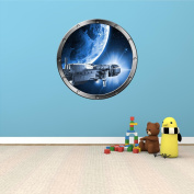 60cm Porthole Outer Space Ship Window View SPACESHIP ORBIT PLANET #1 SILVER Wall Decal Kids Sticker Baby Room Home Art Décor Graphic MEDIUM