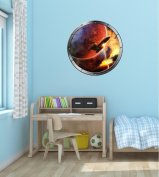 60cm Porthole Instant Outer Space Ship Window View SPACESHIP BATTLE #1 SILVER Wall Decal Kids Sticker Baby Room Home Art Décor Graphic MEDIUM