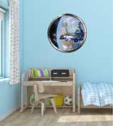 60cm Porthole Instant Outer Space Ship Window View SPACE STATION #1 SILVER Wall Decal Kids Sticker Baby Room Home Art Décor Graphic MEDIUM