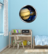60cm Porthole Instant Outer Space Ship Window View PLANET SATURN & RINGS #1 SILVER Wall Decal Kids Sticker Room Home Art Décor Graphic MEDIUM