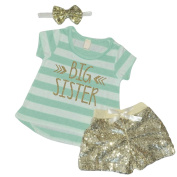 Big Sister Outfit, Baby Girl Clothes, Big Sister Shirt Shorts Headband Set