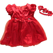 Lestore Baby Girls Rose Flower Red Petals Princess Dress with Hairband