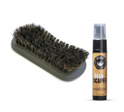 GIBS Beard Oil & Brush Set - Man Scaper Beard Oil with Curved Contoured 100% Pure Natural Soft Bristles Boar Military Brush