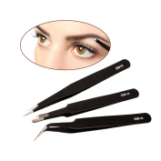 inkint 3 pcs Eyebrow Eyelash Extension Tweezers Hair Removal Set Tools Makeup Beauty Nail Art Curved Point & Flat Tweezers With Anti-Static Coating and Protect Cover