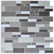 Art3d Peel & Stick Brick Kitchen Backsplash Wall Tile Stone Grey Design, Self-Adhesive 6 Sheets