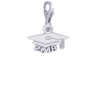 Rembrandt Charms, 2018 Graduation Cap, Solid Sterling Silver or Gold, Engravable
