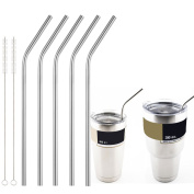 Accmor 18/8 Stainless Steel Straws, Durable Reusable Metal 27cm Extra Long Bend Drinking Straws Set of 5 - for 20 & 890ml YETI RTIC OZARK TERVIS Tumbler Cups - with 2 Cleaning Brushes