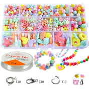 Pnbb Colourful Acrylic Beads Toy DIY Jewellery for Children Necklace and Bracelet Crafts - Style D About 584-piece Set