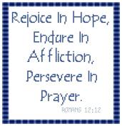 Endless Inspirations Original Cross Stitch Pattern, Romans 12:12
