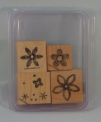 Stampin' Up! BURST INTO BLOOM Set of 4 Decorative Rubber Stamps Retired