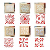 Mydio 6pcs Lace Pattern Wooden Rubber Stamp Square Handwriting DIY Craft Assorted Colour