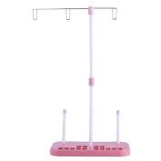 Whitelotous Sewing Thread Stand Adjustable 3 Thread Spools Plastic Holder Pink