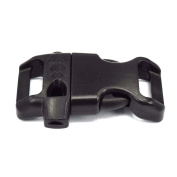 1.6cm Contoured Plastic Emergency Survival Whistle Buckle for Paracord BraceletsBlack 25 Pack