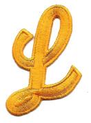 "SCRIPT LETTER-Golden Yellow Script 5.1cm Letter ""L"" - Iron On Embroidered Applique"