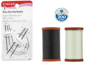 BEST SELLING Upholstery Repair Kit! Coats & Clark Extra Strong Upholstery Thread 1 Naturel Spool, 1 Black Spool (150-Yard) Includes a Set of Heavy Duty Assorted Hand Needles, 7-count