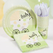 Green Baby Shower Plate, Cup and Napkins Set - Neutral Colour - Baby Buggy Design