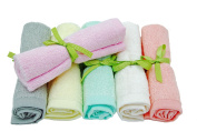 Organic 100% Bamboo Washcloths Reusable Wipes 6-Pack 25cm x 25cm Gift Packaged