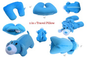 2 in 1 Head and Neck Support Pillow and Plush Travel Buddy Pet Toy for Kids
