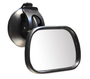 Duttek Car Baby Mirror, ShatterProof 360 Degree Swivel and Tilt Larger View Back Seat Rear-facing Infant In Sight with Rubber Base