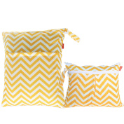 Damero 2pcs Pack Travel Baby Wet and Dry Cloth Nappy Organiser Bag, Yellow Chevron