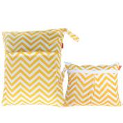 Damero 2pcs Pack Travel Baby Wet and Dry Cloth Nappy Organiser Bag, Yellow Chevron