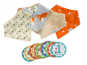 Baby Bandana Drool Bib Kit by Tiny Stars - 4 Pack of Girl Absorbent Cotton/Fleece Snap-On Bibs with 12 Baby Monthly Stickers. Great for Infant Boys and Girls - Great Baby Gift!