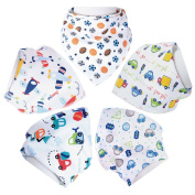 Honeyhome Baby Bandana Drool Bibs for Boys 5- Pack with Snaps -Soft Absorbent Bibs- Cute Burp Cloths Gift for Drooling,Feeding and Teething Baby Boys-Boys Gifts