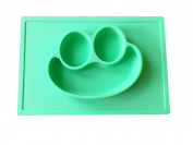 3D Silicone Happy Frog Face Placemat + Plate NEW Smaller Size for Baby and Toddlers
