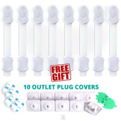 8 Child Safety Locks PLUS 10 Electrical Outlet Covers - Latches for home Baby Proofing