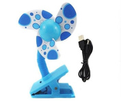 Alytimes Safety Baby Clip-On Mini Stroller Fan USB Battery Dual Crib Cooling Fans -Blue