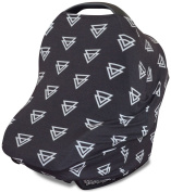 Stretchy 3-in-1 Car Seat Canopy | Nursing Cover | Shopping Cart Cover- Black Triangles | Best Baby Shower Gift for Boys or for Girls | Universal Fit for Infant Car Seat | Great for Breastfeeding Moms