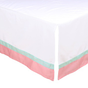 White Tailored Crib Skirt with Coral Pink and Mint Green Trim by The Peanut Shell
