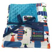 Baby Boys Reversible Minky Velboa Stroller Blanket, Aeroplane / Turquoise