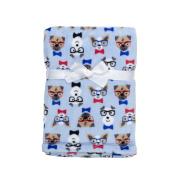 Baby Gear Plush Velboa Ultra Soft Baby Boys Blanket 30 x 40, Blue Preppy Puppy